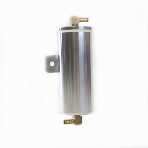Billet Aluminum Overflow Tank 2.75 inch X 6.5 inch Note: 3/8 inch inlet and outlet, brass hose barbs